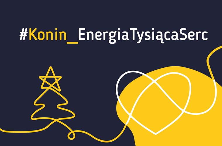 Na ciemnym tle hasztag Konin_EnergiaTysiącaSerc, po lewo żółtą linią obrysowano kształt choinki.